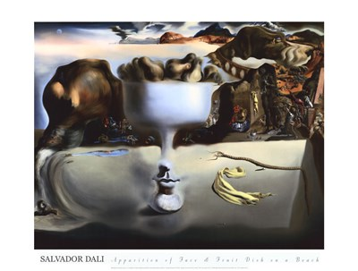 Apparition of Face and Fruit Dish on a Beach, c.1938 Poster by Salvador Dali for $56.25 CAD