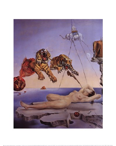 String Caused by the Flight of a Bee Around a Pomegranate, A Second Before Awakening, c.1944 Poster by Salvador Dali for $15.00 CAD