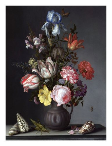 Balthasar van der Ast, Flowers in a Vase with Shells and Insects Poster by Dutch Florals for $40.00 CAD