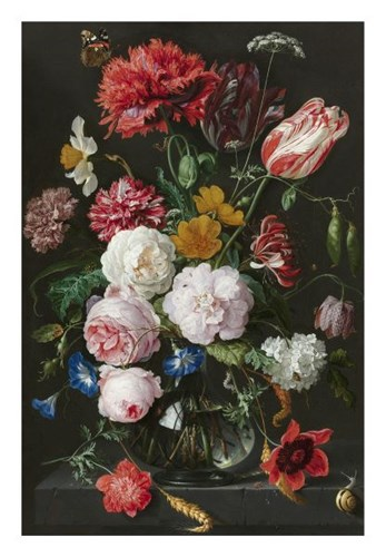 Abraham Mignon, Still Life with Flowers in a Glass Vase Poster by Dutch Florals for $40.00 CAD