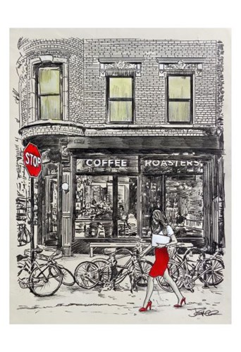 The Coffee Roasters Place Poster by Loui Jover for $20.00 CAD