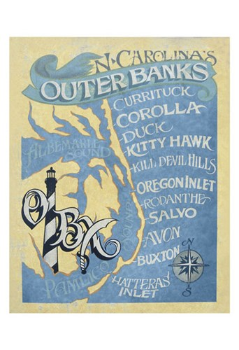 Outer Banks, North Carolina Beach Map Poster by Zeke's Antique Signs for $20.00 CAD