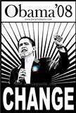 Barack Obama - (Change, Black and White) Campaign Poster