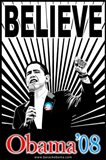 Barack Obama - (Believe Red and Blue) Campaign Poster