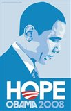 Barack Obama - (Profile, Blue) Campaign Poster