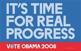 Barack Obama - (Time for Real Progress) Campaign Poster
