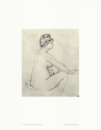 Bather Drying Herself - drawing Poster by Pierre-Auguste Renoir for $15.00 CAD