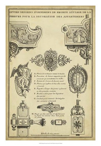 Antique Decorative Locks II Poster by J. F. Blondel for $56.25 CAD