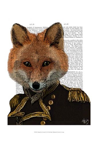 Admiral Fox Portrait Poster by Fab Funky for $20.00 CAD