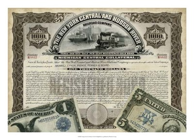 Antique Stock Certificate I Poster by Vision Studio for $56.25 CAD