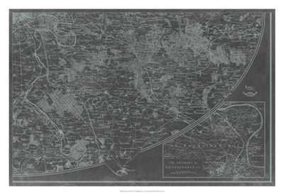 Map of Paris Grid IV Poster by Vision Studio for $93.75 CAD