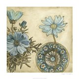 Blue & Taupe Blooms I
