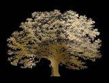 Gold Foil Elephant Tree on Black
