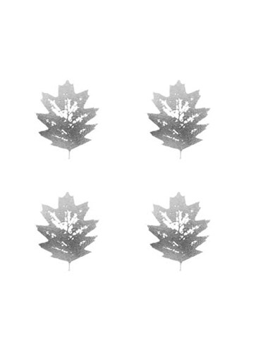4-Up Silver Foil Leaf III Poster by Jennifer Goldberger for $100.00 CAD
