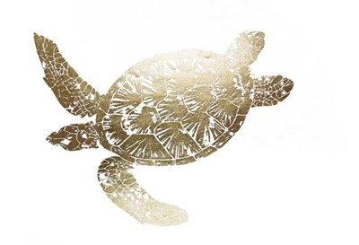 Gold Foil Sea Turtle II Poster by Grace Popp for $162.50 CAD