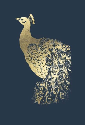 Gold Foil Peacock I on Cobalt Poster by Grace Popp for $137.50 CAD