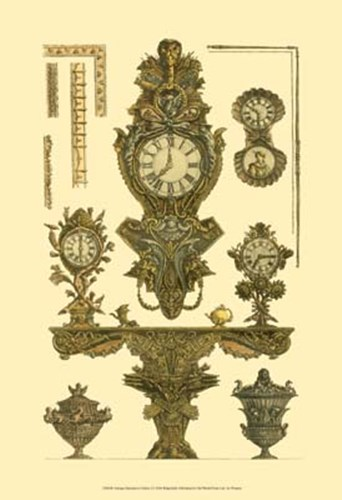 Antique Decorative Clock I Poster by Francesco Piranesi for $20.00 CAD