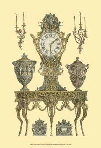 Antique Decorative Clock II Poster by Francesco Piranesi for $20.00 CAD