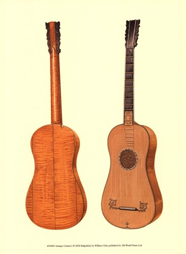 Antique Guitars I Poster by William Gibb for $13.75 CAD