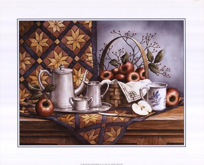 Pewter Tea Set with Apples Poster by T.C. Chiu for $18.75 CAD