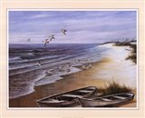 Two Rowboats on Beach