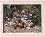 Yellow Tiger With Cubs