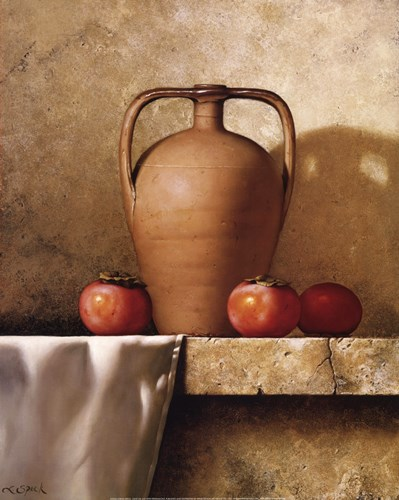 Olive Oil Jug with Persimmons Poster by Loran Speck for $33.75 CAD