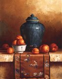 Ginger Jar with Peaches, Apricots & Tapestry