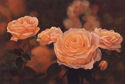 Mandarin Heirloom Roses Poster by Dina for $52.50 CAD