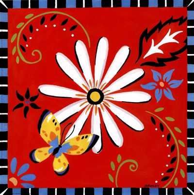 Daisies And Butterflies-Red Poster by Jennifer Brinley for $20.00 CAD