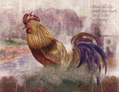 Blue Tail Rooster Poster by Alma Lee for $21.25 CAD