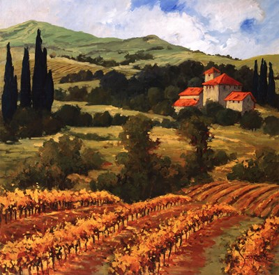 Tuscan Monastery Amidst Autumn Poster by Eva Szorc for $35.00 CAD