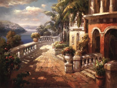 Seaside Terrace Poster by Roberto Lombardi for $21.25 CAD