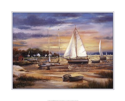 Sailboats At The Shore Poster by T.C. Chiu for $20.00 CAD