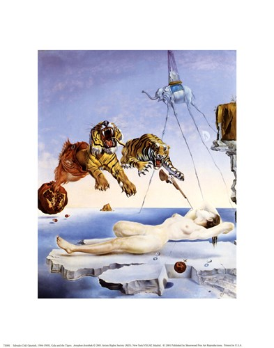 Dream Caused by the Flight of a Bee Around a Pomegranate, A Second Before Awakening, c.1944 Poster by Salvador Dali for $8.75 CAD