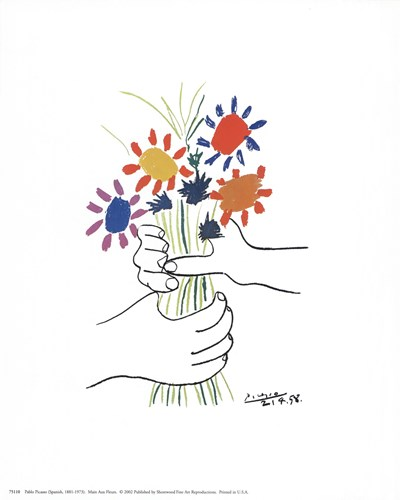Main Aux Fleurs Poster by Pablo Picasso for $8.75 CAD