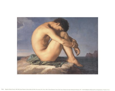 Jeune Homme nu Assis au Boro de la Mer Poster by Hippolyte Flandrin for $8.75 CAD