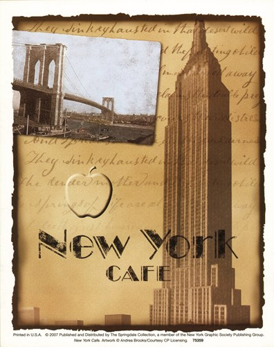 New York Cafe Poster by Brooks for $8.75 CAD