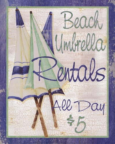 Beach Umbrellas Poster by Kathy Hatch for $22.50 CAD