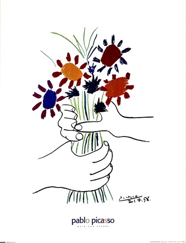 Main Aux Fleurs Poster by Pablo Picasso for $17.50 CAD