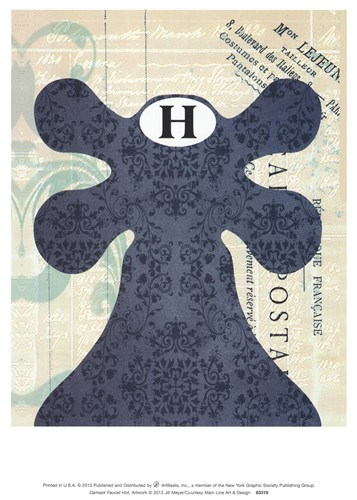 Damask Faucet Hot Poster by Jill Meyer for $8.75 CAD