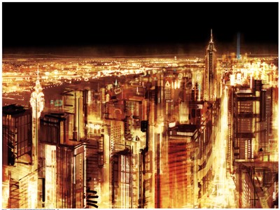 Manhattan Panoramic Nocturne (detail) Poster by Christopher Farrell for $75.00 CAD