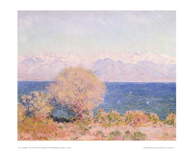 View of Bay At Antibes & Maritime Alps Poster by Claude Monet for $25.00 CAD