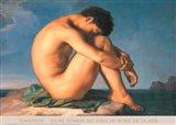 Jeune Homme nu Assis au Boro de la Mer