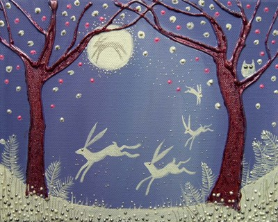 Dance Of The Moon Hares Poster by Angie Livingstone for $42.50 CAD