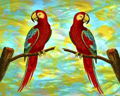 Red Parrots Poster by Ata Alishahi for $56.25 CAD