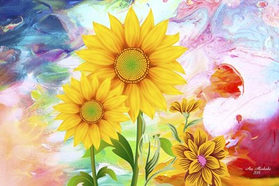 Sunflowers Art Poster by Ata Alishahi for $43.75 CAD
