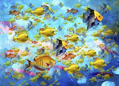 Fish World Poster by Ata Alishahi for $40.00 CAD