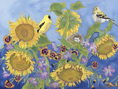 Goldfinches With Sunflowers Poster by Carissa Luminess for $41.25 CAD