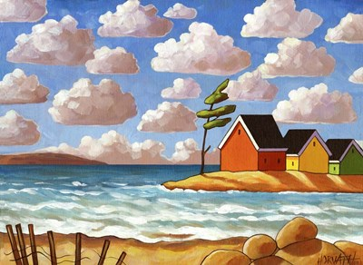 Waves and Colorful Cabins Beach Poster by Cathy Horvath-Buchanan for $40.00 CAD